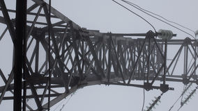 Transmission tower silhouette in deep mist white background Stock Photography