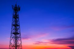Transmission tower. Silhouette in a large transmission tower at sunset beautiful stock photos