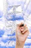 Transmission tower sketch with high voltage. On blue sky stock photography