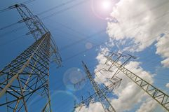 Transmission tower and sky. High Transmission tower and high voltage wires and sky stock image