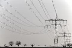 Transmission tower and sky. High Transmission tower and high voltage wires and sky stock photos