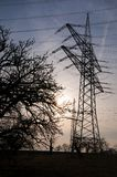 Transmission tower and sky. High Transmission tower and high voltage wires and sky royalty free stock image