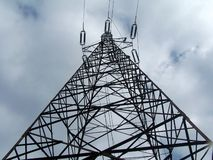 Transmission tower. Steel transmission tower for overhead power line royalty free stock photos