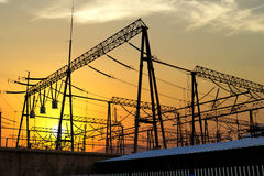 Transmission tower in the sunset in shanghai. Transmission tower in the sunset stock photo