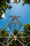 Transmission tower. View of a Transmission tower on a sunny day stock images