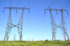 Transmission Towers. Power transmission towers carrying electricity from different parts of country Stock Image