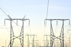 Transmission Towers. Power transmission towers carrying electricity from different parts of country Stock Photos