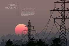 Transmission towers landscape background vector Royalty Free Stock Images
