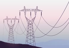 Transmission towers landscape background vector Stock Photo