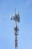 Transmission towers mobile phone on clear sky Stock Photos