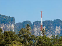 Transmission towers in the mountains. Stock Images