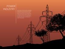 Transmission towers orange landscape background vector Royalty Free Stock Photos