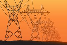 Transmission towers orange landscape background vector Stock Photo