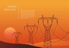 Transmission towers orange landscape background vector Stock Image
