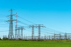 Transmission towers and relay station Royalty Free Stock Photo