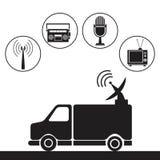 Transmission truck tv antenna dish signal Stock Images