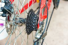 Transmissions and brakes on the bike, chain, sprocket and disc brakes.  royalty free stock photos