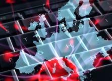 Transmissions européennes d'Internet Photos libres de droits