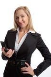 Transmissions mobiles de femme photo stock