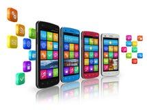 Transmissions mobiles et gestion de réseau sociale Photos libres de droits