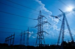 Free Transmissions Towers At Dusk Royalty Free Stock Images - 30748159