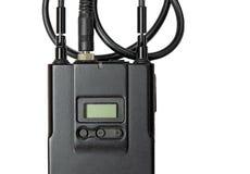 Transmissor sem fio do microfone sobre o branco fotografia de stock royalty free