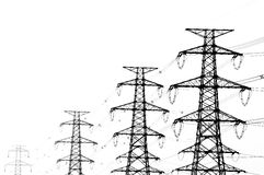 Transmit electricity. Line in white Royalty Free Stock Photos