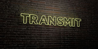 TRANSMIT -Realistic Neon Sign on Brick Wall background - 3D rendered royalty free stock image. Can be used for online banner ads and direct mailers Royalty Free Stock Photos