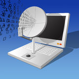 Transmit. Simplistic illustration of a computer and satellite dish Royalty Free Stock Images