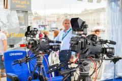 Transmitować i nagrywać z cyfrową kamerą Zdjęcia Stock