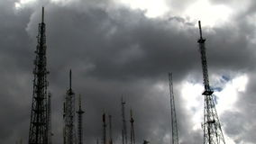 Transmitter with clouds timelapse stock video footage