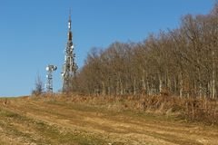 Transmitter on the forest background Stock Images