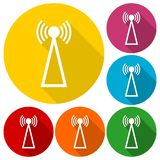 Transmitter simple icons set with long shadow Stock Photos