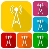Transmitter simple icons set with long shadow Royalty Free Stock Photography