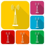 Transmitter simple icons set with long shadow Royalty Free Stock Images