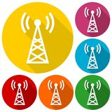Transmitter simple icons set with long shadow Royalty Free Stock Photo