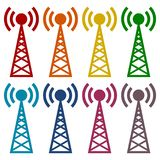 Transmitter simple icons set Stock Image