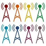 Transmitter simple icons set Royalty Free Stock Photos