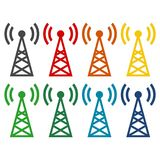 Transmitter simple icons set Stock Photos