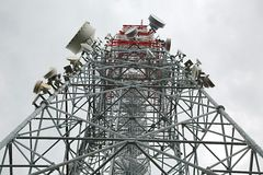 Transmitter tower mast Stock Photo