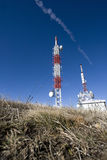Transmitter tower on a mountain Royalty Free Stock Image