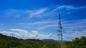 Transmitter tower on mountain Stock Photography
