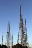 Transmitter Towers. Communications tower for tv signal Royalty Free Stock Photo