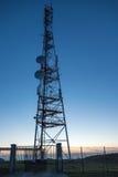 Transmitting antenna. Silhouette of Transmitting antenna tower on night sky background Royalty Free Stock Images