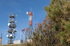 The transmitting antenna on trellis. Steel trellis for transmitting antennas Stock Photography