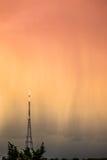 Transmitting Station at sunrise. The high Crystal Palace transmitting station at rainy sunrise, Bromley, London, UK Royalty Free Stock Image