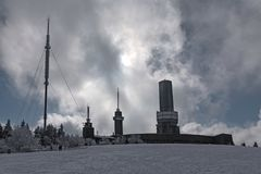 Transmitting stations on the Feldberg in the Taunus in winter, Hesse, Germany.  Royalty Free Stock Images