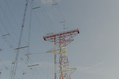 Transmitting system sky. Large transmitting system view in the sky Royalty Free Stock Image