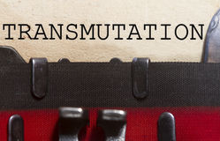 Transmutation. Typed on an old vintage paper with od typewriter font Royalty Free Stock Image