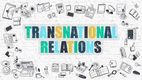 Transnational Relations in Multicolor. Doodle Design. Stock Image